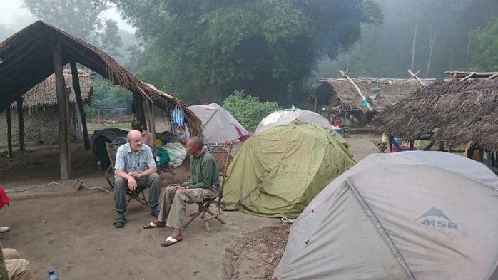 Camping in the village where the ebola infection started.